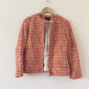 Talbots Orange Tweed Buttonless Pockets Blazer 6P